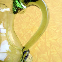 Green Glass Pitcher Hand Blown Vintage Glass