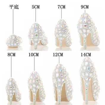 The New 2016 Seven Color Glass Slipper High Heels Bride Shoes Lighter Wedding Shoes Show Club for Women's Shoes Crystal Shoes