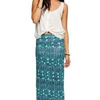 Nollie Aztec Knit Maxi Skirt - Womens Skirt - Blue - Extra Small