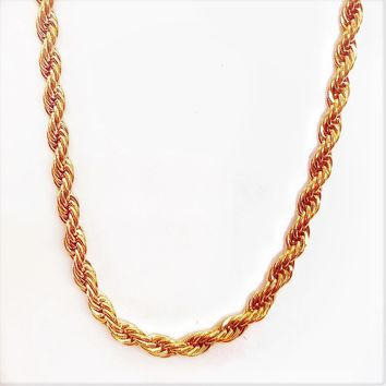 ON SALE - 20 inch 18K Rose Gold Plated Stainless Steel Rope Chain
