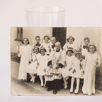Antique photograph of Holy Communion, Kids and Priest photo Lord's Supper before WWII, Religious white and black photo The Eucharist