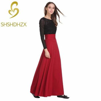 VONEGQ High Waist Maxi Skirt For Women Big Swing Ankle-Length Long Pleated Skirt Plus Size S-5XL