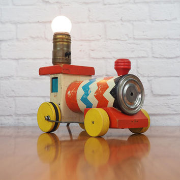 RARE Fisher Price Whistling Engine Train Lamp / Vintage Lighting / Nursery Decor / Little Boy's Room Decor / Collectible Toys