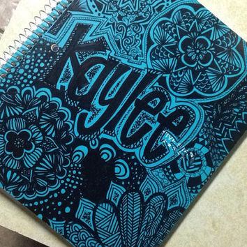 CUSTOM hand drawn notebook- back to school