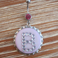 Belly Button Ring - Body Jewelry - Bottle Cap Charm w/ Initial 'B' with Dark Pink Gem Belly Button Ring