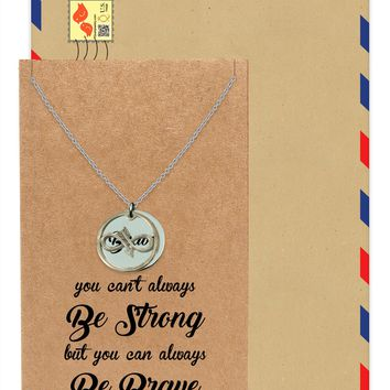 Carla Infinity Arrow with Brave on Plate Pendant Necklace, Friendship Gifts, with Greeting Card
