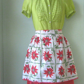 2-Tier Organza Vintage 1950s Christmas Apron - Poinsettias with Red Organdy Christmas Apron