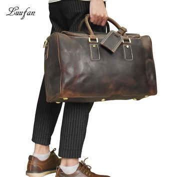 Men's crazy horse leather travel bag Zip around durable genuine leather travel duffel Bag luggage laptop shoulder bags