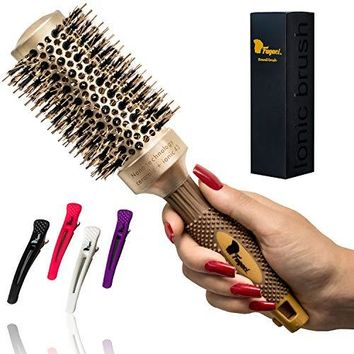 Fagaci Round Brush for Blow Drying with Natural Boar Bristle, Hair Brush + 4 Styling Clips