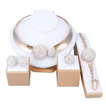 CREYV2S OUHE18K Gold Plated Crystal Jewelry Sets Women Costume Wedding Party Necklace Earrings Bracelet Ring
