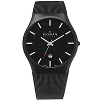 Skagen Men's Black Mesh-Band Titanium Watch - Black