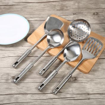 5Pcs/set Multi-functional Kitchen Utensil Set Stainless Steel Spoons Shovel Spatula Cooking Tools to Make Good Dinner