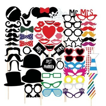 58pcs  Photo Booth Props Moustaches On A Stick For Wedding Party