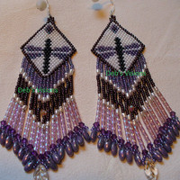 Native American Style brick stitched Dragonfly earrings in Purple