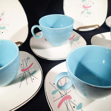 Laughlin Mobile cups, saucers and bread plate set of 12. tea coffee set Vintage Mid Century Atomic amoeba pink blue & gray RETRO to the max!