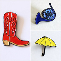 "Blue French Horn, Yellow Umbrella, Red Cowboy Boots Lapel Pin 3 pack - 1.25"" soft enamel"