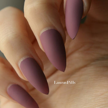 Dark mauve stiletto false nails! Matte or glossy mauve pink fake nails, red nails burgundy nails