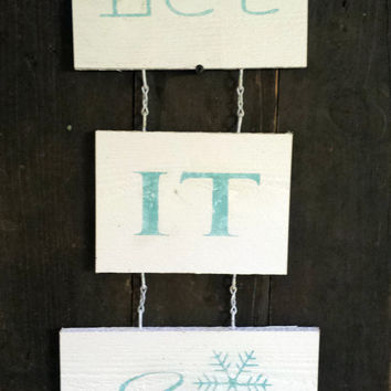 Christmas sign says LET IT SNOW cottage shabby chic wall decor holidays baby blue snowflake white chain merry christmas wall hanging