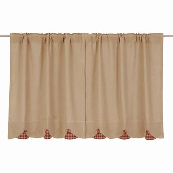 Burlap with Burgundy Check Tier Curtains 36""