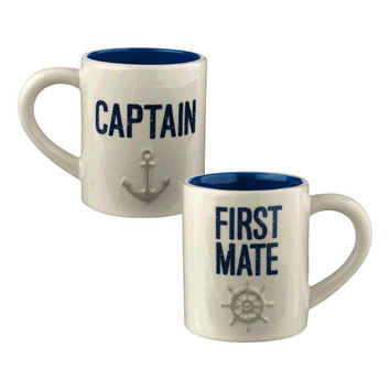 Coastal Coffee Mug Set - Captain and First Mate