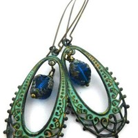 Bohemian Earrings In Green Verdigris Patina With Blue Biocone Czech En