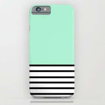 Fresh Mint Black and White stripes pattern iPhone & iPod Case by Xiari