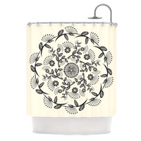 "Famenxt ""Black & White Decorative Mandala"" Geometric Shower Curtain"