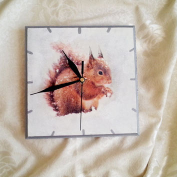 Cute squirrel delicate snow snowy winter shabby chic decoupage wooden small wall clock gift idea for her white silver