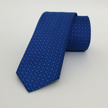 "Blue Skinny Tie 2.36"" (6 cm) Blue spotted tie - Blue spotted necktie - Blue spotted cravat - DK659"