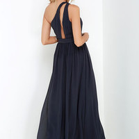 Painted Words Dark Blue Grey One Shoulder Maxi Dress