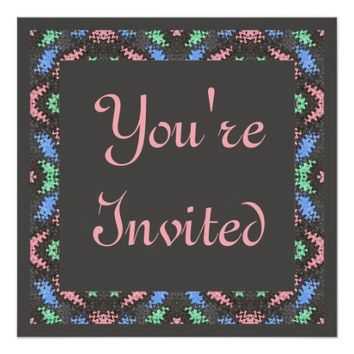 pink grey blue invitation