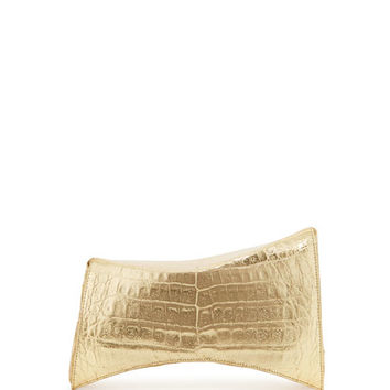 Nancy Gonzalez Angular Crocodile Clutch Bag, Soft Gold Mirror