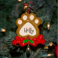 Holiday Dog Paw Ornament with Ribbon