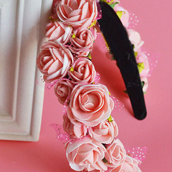 Pink Floral Cluster Hairband