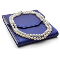 Sterling Silver 2 Rows 8-8.5mm White Freshwater Cultured High Luster Pearl Necklace, 17""