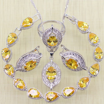 Eyes 925 Sterling Silver Yellow Stone Bracelets Jewelry Sets For Women Wedding Earrings/Ring/Necklace/Pendant
