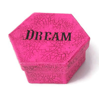 Decorative Box in hot pink and black crackle with the word Dream, trinket box, gift box, keepsake box, small hexagonal box