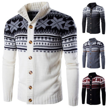 Cardigan Sweater New Winter  Mens Sweaters Long Sleeve Jacket Casual Knitted Sweater Male Christmas Coat Knitwear
