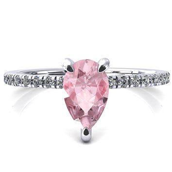 Ezili Pear Pink Sapphire 3 Claw Prong Micro Pave Diamond Sides Engagement Ring