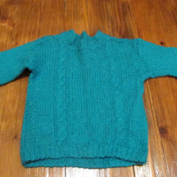 Hand Knitted baby Sweater for Boys, Blue - Green Handmade from Wool Yarn Baby Sweater, Size 3-6 Months Warm Gift for Your Baby