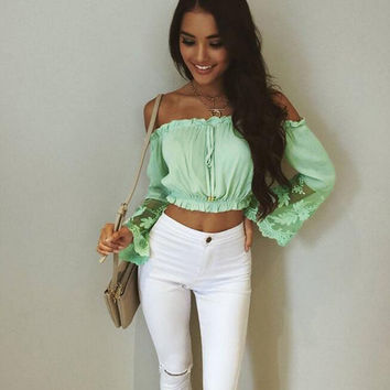 Light Green Off Shoulder Flare Lace Sleeve Crop Top