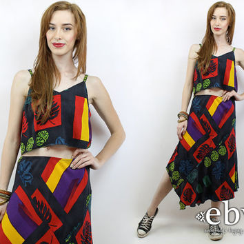 Vintage 90s Tribal Print Crop Top + Skirt Outfit S M Two Piece Set Two Piece Outfit Separates Cropped Top High Waisted Skirt Matching Set