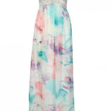 Chiffon Floral Maxi Dress with Sequin&Gem Embroidery
