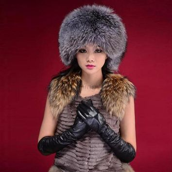 ESBU3C Fashion Warm Winter Tail Beanie Beret Cap Women Faux Fur Ear Earflap Hat
