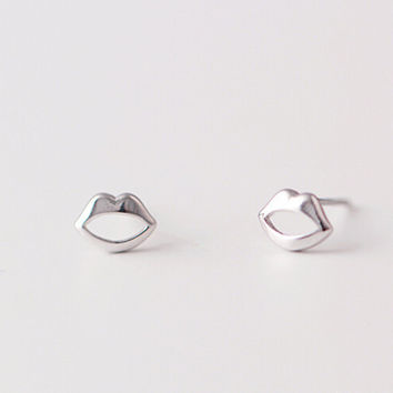 925 sterling silver earrings, lip stud earrings