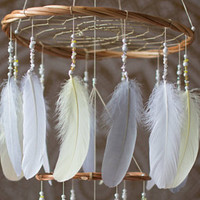 Gray and Yellow Dream Catcher - Yellow Grey and White Dream Catcher
