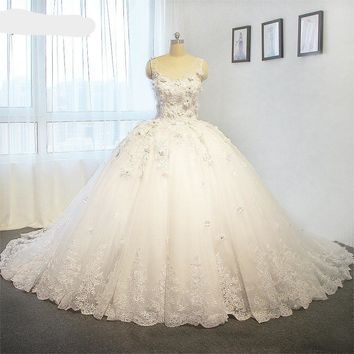 Luxury Ball Gown Wedding Dress Flowers Top Quality Wedding Dresses