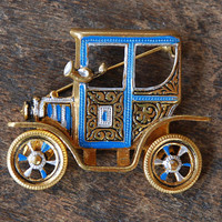 Vintage Car Brooch Model T Damascene Blue Black Silver Enamel Gold Tone Articulated Wheels Mid Century Mod 1960's // Vintage Costume Jewelry