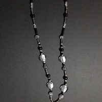 Handmade Silver and Black Beaded Cameo Pendant Necklace from NotionsN'Potions