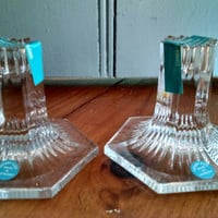 """Vintage Crystal """"Louis Comfortable Tiffany Collection"""" Candlesticks, Pair of Short Glass Candlesticks in Original Box"""
